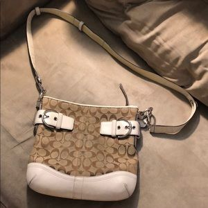 Coach printed c bag white/brown canvas/leather